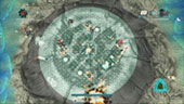 A human base is temporarily protected by a shield dome while the player attempts to repel Draelus attackers.