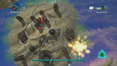 A Draelus Razor bomber is destroyed by the player over a human settlement.